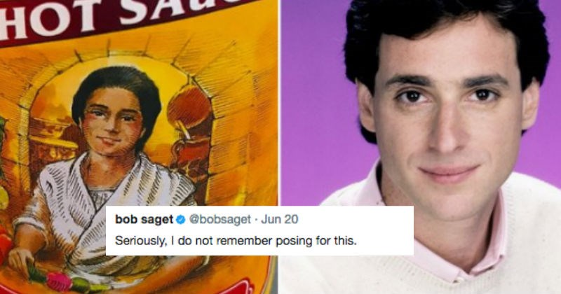 Bob Saget tweets status about how he thinks he looks like the Cholula hot sauce woman.