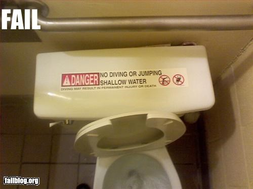 danger diving g rated jumping shallow sticker toilet warning water - 2537468672