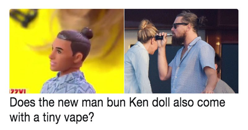 Funny list of memes about ken doll's new man bun.