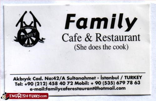business card cafe cook family istanbul restaurant Turkey woman