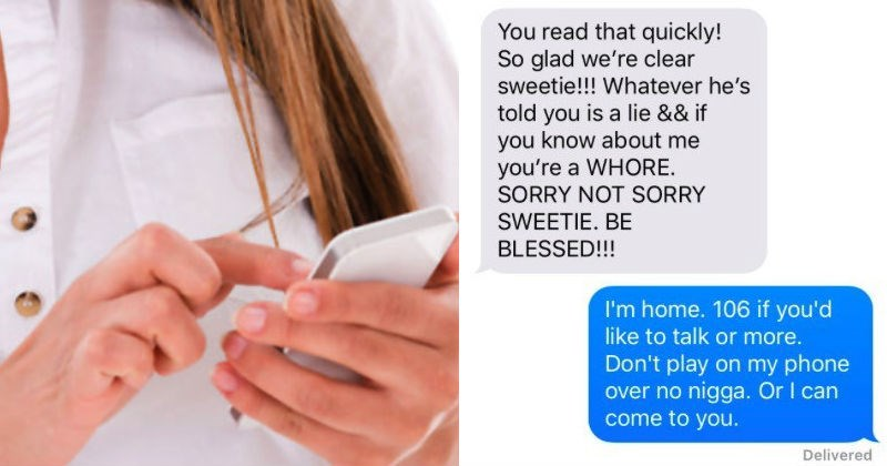 Girl has freakout on her neighbor in crazy text exchange because she thinks he's cheating on her.