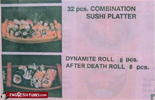 after,combination,Death,dynamite,g rated,menu,restaurant,sushi