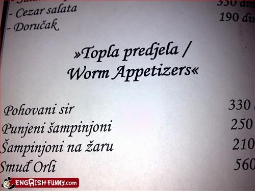 appetizers,food,g rated,menu,restaurant,worm
