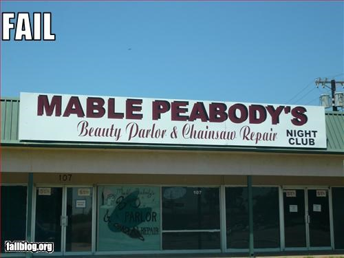 beauty parlor business chainsaw g rated juxtaposition night club repair store front - 2545813248