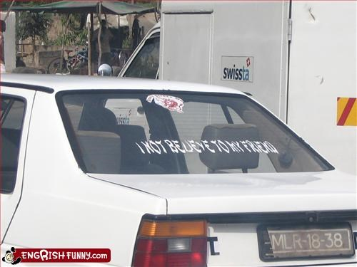 this bumper sticker brought to you by an internet translator. Waiting for a bus in Maputo, Mozambique and this car goes by. The meaning of the bumper sticker? I don't think the driver even knew.