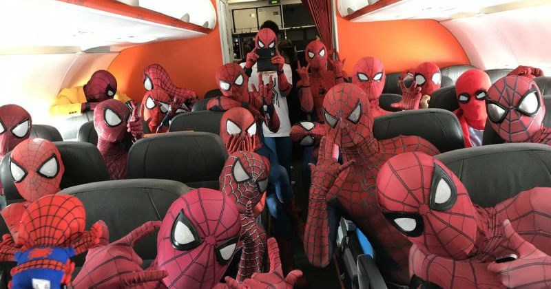 Airplane packed full of Spider-Mans is one of the most awesome things we've ever seen.