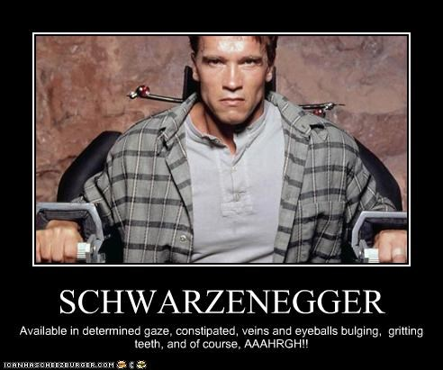 SCHWARZENEGGER Available in determined gaze, constipated, veins and eyeballs bulging, gritting teeth, and of course, AAAHRGH!!