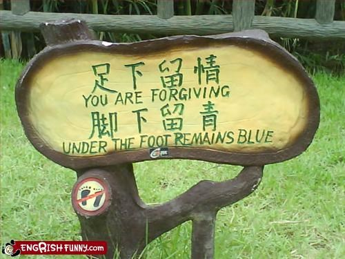 blue foot forgive g rated signs under