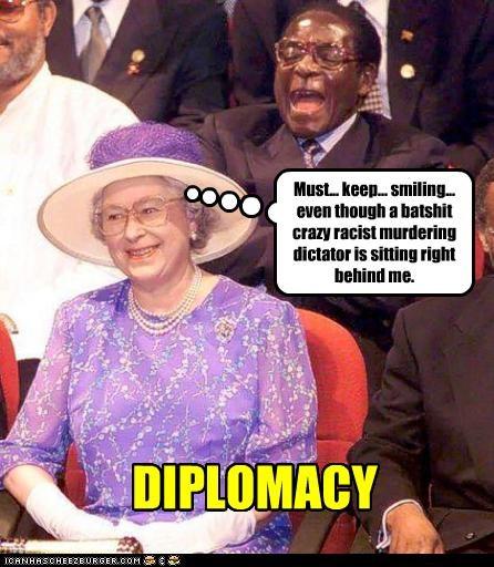 dictator diplomacy Queen Elizabeth II Robert Mugabe smile zimbabwe - 2557917696