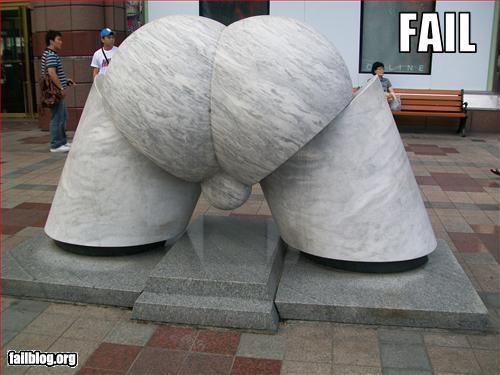 Statue Fail Statue outside of Lotte Hotel in Busan, South Korea.