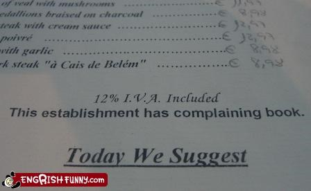 book complain g rated menu restaurant suggest today
