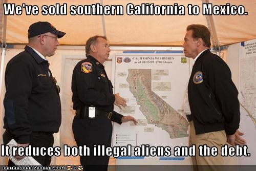 Arnold Schwarzenegger california debt Governor illegal aliens immigration mexico Republicans sold