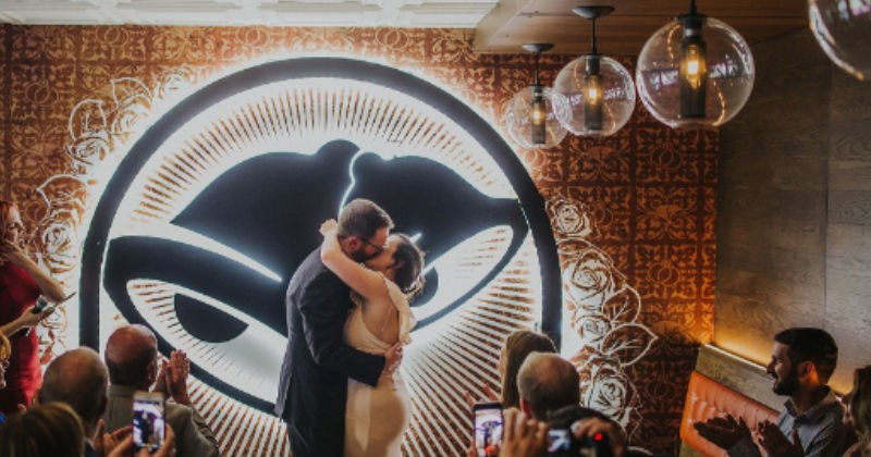 Pictures from a newlywed couple that got married inside a wedding chapel in Taco Bell in Las Vegas.