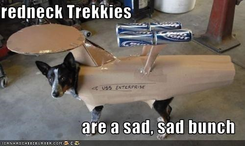 australian cattle dog,beer,blue heeler,costume,redneck,Sad,spaceship,Star Trek,Trekkies