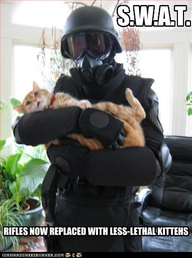 RIFLES NOW REPLACED WITH LESS-LETHAL KITTEHS S.W.A.T.