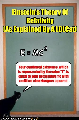 """Einstein's Theory Of Relativity (As Explained By A LOLCat) E = MC 2 Your continued existence, which is represented by the value """"E"""", is equal to your presenting me with a million cheezburgers squared."""