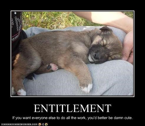ENTITLEMENT If you want everyone else to do all the work, you'd better be damn cute.