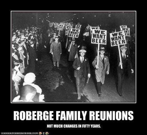 ROBERGE FAMILY REUNIONS NOT MUCH CHANGES IN FIFTY YEARS.