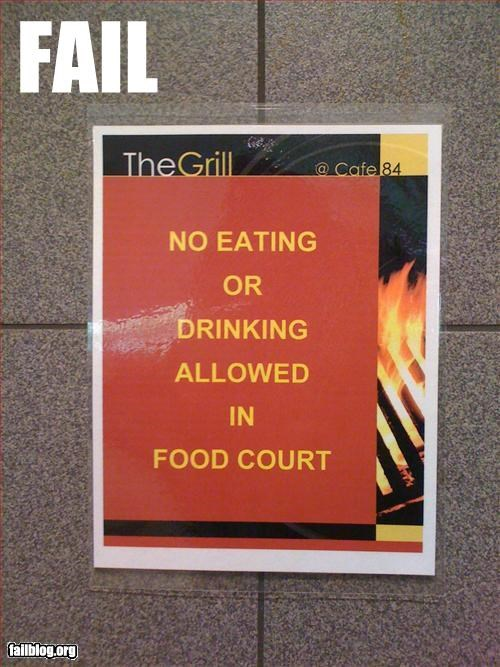 dont drinking eating food court g rated no signs - 2583379712