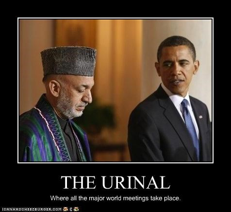 afghanistan,barack obama,democrats,hamid karzai,pee,president,urinal