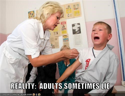 adults,child,lie,nurse,reality,vaccination