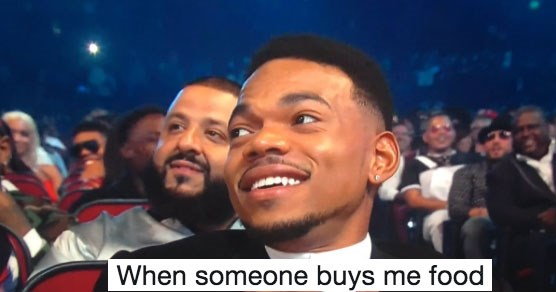 Collection of wholesome memes featuring a photo of Chance the Rapper at the BET awards.