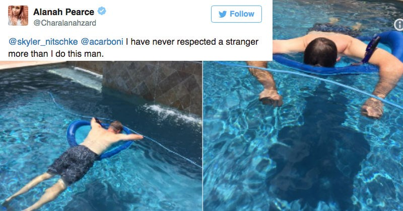 Dad uses a snorkel to take naps in the pool and the internet is freaking out on Twitter.