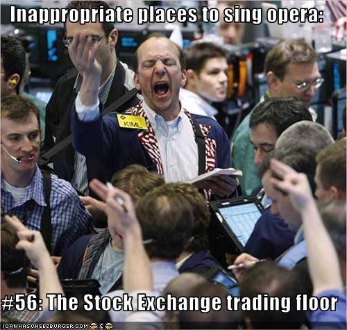 opera singing stock exchange trading floor