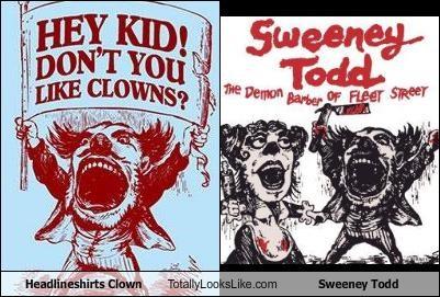 clown,comic,drawing,headlineshirts,Sweeney Todd
