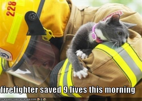 9 lives,firefighters,hero,lolcats