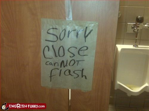 bathroom,close,door,flash,g rated,signs,sorry