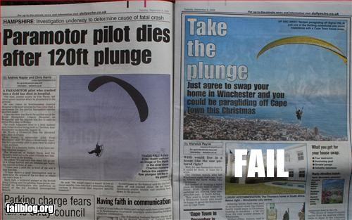 ad placement die g rated headline newspaper paragliding plunge - 2614894848