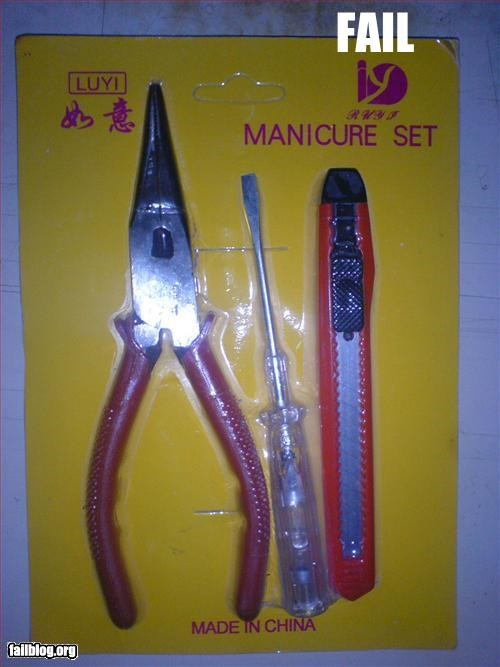g rated manicure mislabel packaging tools