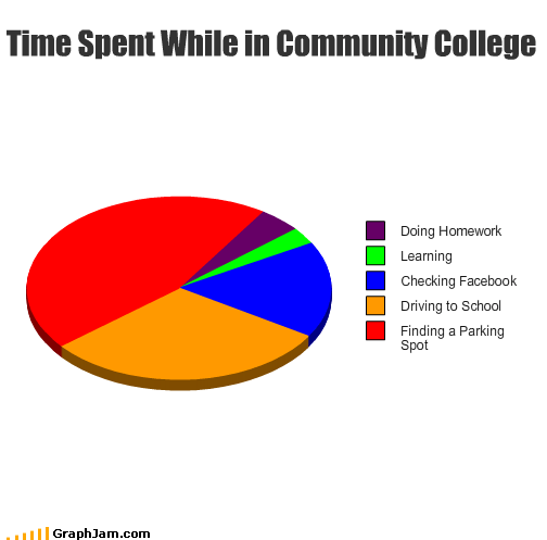 college,community college,driving,facebook,homework,learning,parking spot,Pie Chart,school