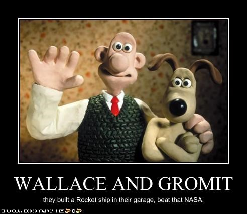aardman animation,animation,nasa,rocket,wallace and gromit