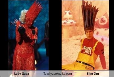 costume,hair style,headdress,lady gaga,mascot,musician,singer,slim jim