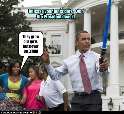 barack obama democrats dork light saber Michelle Obama nerds president star wars - 2635646976