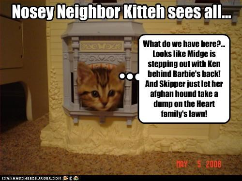 Nosey Neighbor Kitteh sees all... What do we have here?... Looks like Midge is stepping out with Ken behind Barbie's back! And Skipper just let her afghan hound take a dump on the Heart family's lawn!