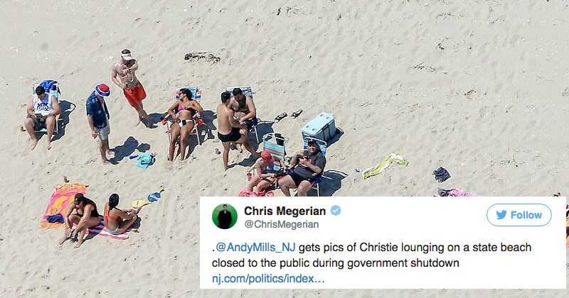 Chris Christie's getting mocked by people on the internet for sunbathing on beach he shut down to general public.