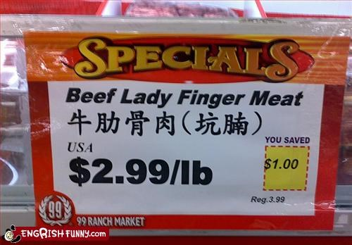 Beef,fingers,g rated,grocery store,lady,meat,signs