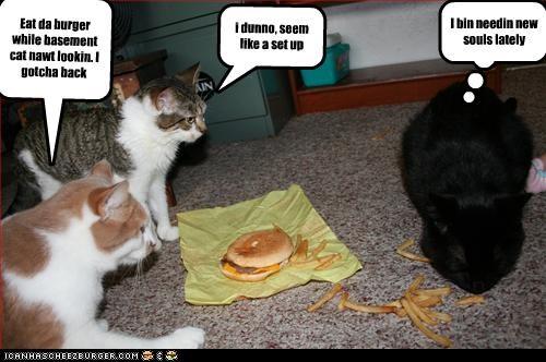 Eat da burger while basement cat nawt lookin. I gotcha back i dunno, seem like a set up I bin needin new souls lately