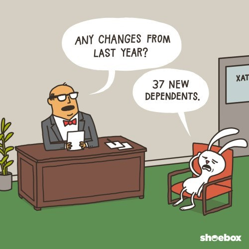 comics of animals doing their tax refunds