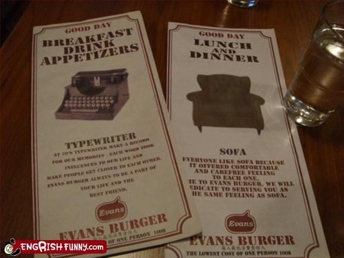 appetizers,best friends,breakfast,burger,comfortable,day,dinner,feeling,good,g rated,menu,restaurant,sofa,typewriter