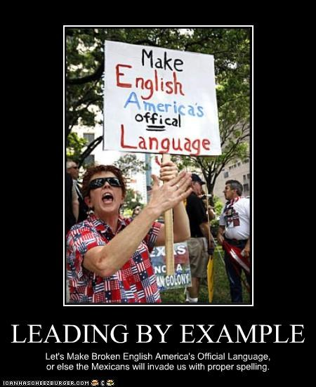 english language misspelling protesters signs