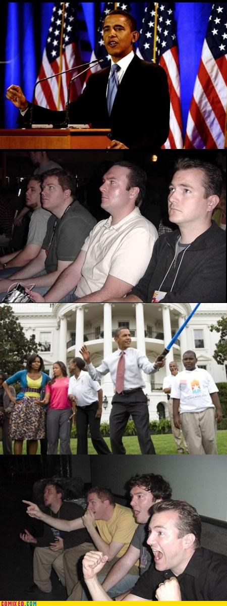 lightsaber,obama,reaction guys