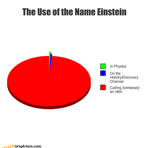 albert einstein,discovery channel,history channel,idiot,insult,names,physics,Pie Chart,usage