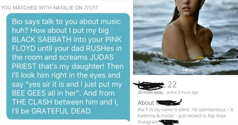 Collection of ridiculous moments between people on the Tinder dating app.