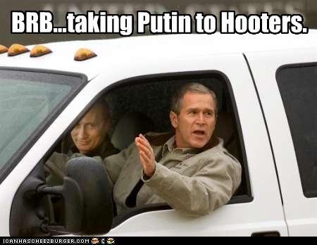 driving,george w bush,hooters,president,prime minister,Republicans,truck,Vladimir Putin,vladurday