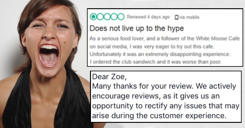 Woman's terrible food review ends up coming back to haunt her in hilarious way.