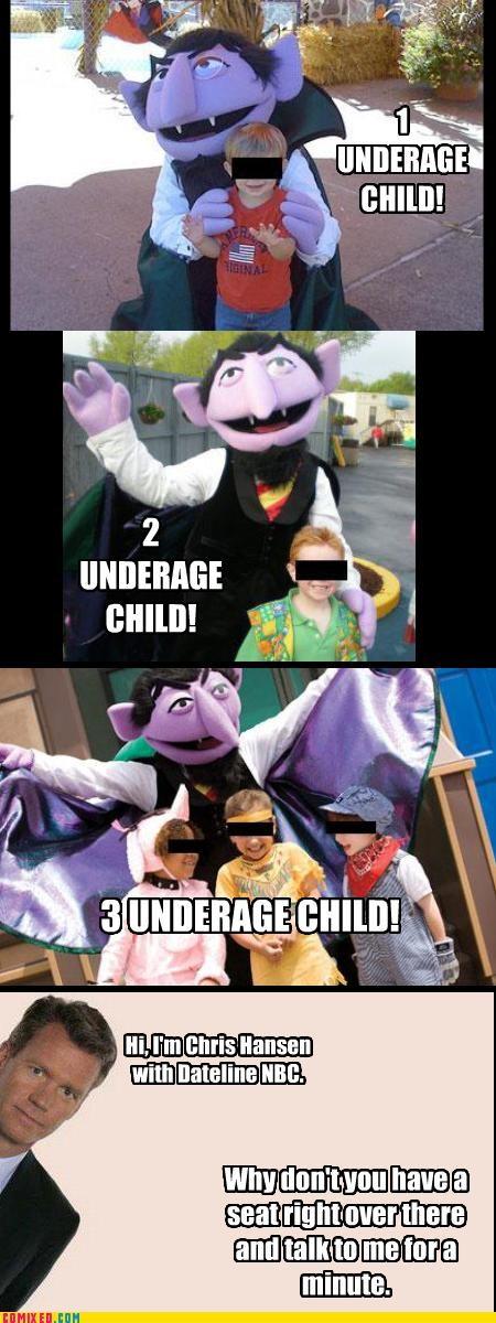 Count von Count,pedobear,sesame streat